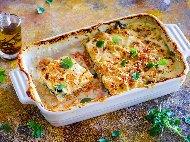Огретен от спанак, картофи, тиквички, грах, извара, мляко и яйца